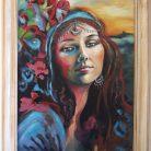La Gitana $5.000.- Acrilico sobre madera con marco y chapa de bronce, Medida: 50 x 60 cm aprox.