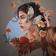 Golden flowers mural painting pintura mural Selina Florencia Burton Bariloche Argentina pintura muralista _