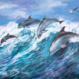 dolphins-ridding-the-waves-florencia-burton dolphinsart dolphinart oceanart