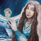 Sediane-y-la-Leyenda-del-Agua-de-Luna-florencia-burton-Sediane-and-the-moonwater-Leyend-visionary-fantasy-art-new-age-painting-ancestral-feminine-