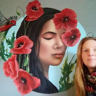 Red Giant Poppies Dream mural painting pintura mural Selina Florencia Burton Bariloche Argentina pintura muralista
