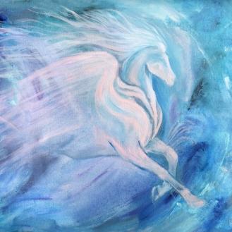 Pegasus, .- Acrilico sobre lienzo en bastidor sin marco, Medida: 60 x 50 cm aprox.