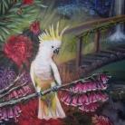 detalle Jardin tropical $30.000 Técnica Mixta, Óleo y Acrilico sobre lienzo en bastidor sin marco Medida: 100 x 80 cm aprox.