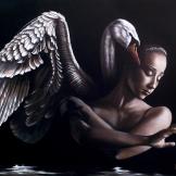 florencia burton-Mujer con Cisne florencia burton visionary fine art return to nature patagonia argentina