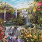 Jardin tropical $30.000 Técnica Mixta, Óleo y Acrilico sobre lienzo en bastidor sin marco Medida: 100 x 80 cm aprox.