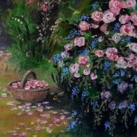 Detalle Dulces Rosas Acrilico sobre lienzo con marco, Medida: 40 x 50 cm aprox.