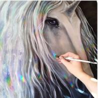 unicorn art magic fantasy florencia burton visionary fine art return to nature patagonia argentina rainbow