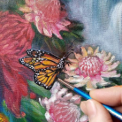 Detalle de Jardin tropical $30.000 Técnicamixta, Óleo y Acrilico sobre lienzo son marco Medida: 100 x 80 cm aprox.