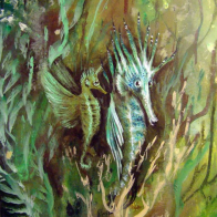 hipocampus fantasy art florencia burton visionary fine art return to nature patagonia argentina