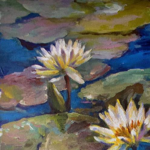 Detalle de Aguas azules Acrilico sobre lienzo en bastidor sin marco, Medida: 70 x 42 cm aprox.