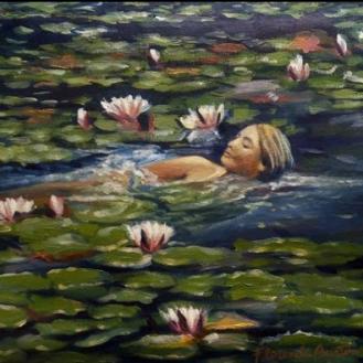 nacimiento, nadando en las aguas de la vida florencia burton visionary fine art return to nature patagonia argentina