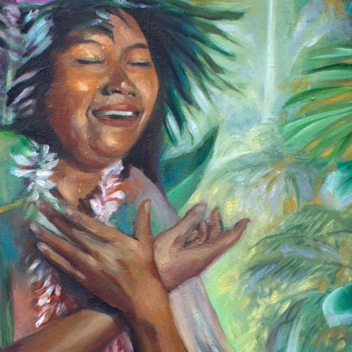 detail-florencia-burtonGRATITUD-GRATITUDE--cewntro-oil-painting-kauai-maori-gradmother-nature-medicine--florencia-burton-patagonia-paradise
