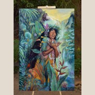 GRATITUD-GRATITUDE-oil-painting-kauai-maori-gradmother-nature-medicine--florencia-burton-patagonia-paradise
