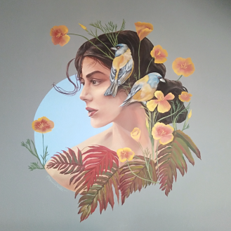 Golden flowers mural painting pintura mural Selina Florencia Burton Bariloche Argentina pintura muralista