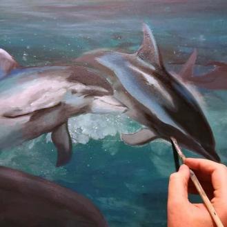 painting process florencia burton ASTRALGATE-TO-OCEANA